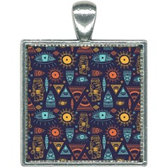 Trendy African Maya Seamless Pattern With Doodle Hand Drawn Ancient Objects Square Necklace