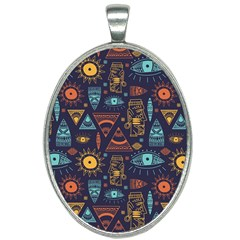 Trendy African Maya Seamless Pattern With Doodle Hand Drawn Ancient Objects Oval Necklace