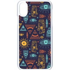 Trendy African Maya Seamless Pattern With Doodle Hand Drawn Ancient Objects Iphone Xs Seamless Case (white)
