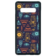 Trendy African Maya Seamless Pattern With Doodle Hand Drawn Ancient Objects Samsung Galaxy S10 Plus Seamless Case (black)