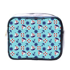 Seamless Pattern Nautical Theme Mini Toiletries Bag (one Side) by Wegoenart