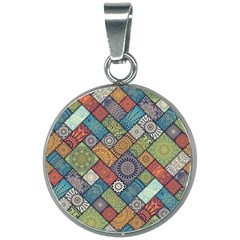 Diagonal Floral Tiles Pattern 20mm Round Necklace