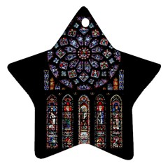 Chartres Cathedral Notre Dame De Paris Amiens Cath Stained Glass Ornament (star) by Wegoenart