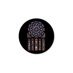 Chartres Cathedral Notre Dame De Paris Amiens Cath Stained Glass Golf Ball Marker by Wegoenart