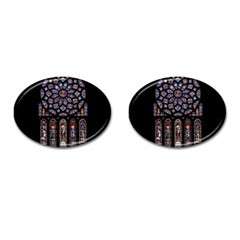 Chartres Cathedral Notre Dame De Paris Amiens Cath Stained Glass Cufflinks (oval) by Wegoenart