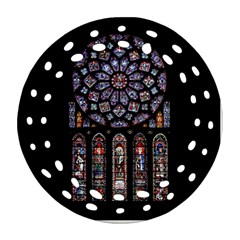 Chartres Cathedral Notre Dame De Paris Amiens Cath Stained Glass Round Filigree Ornament (two Sides) by Wegoenart