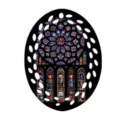 Chartres Cathedral Notre Dame De Paris Amiens Cath Stained Glass Oval Filigree Ornament (two Sides) by Wegoenart