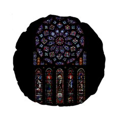 Chartres Cathedral Notre Dame De Paris Amiens Cath Stained Glass Standard 15  Premium Round Cushions by Wegoenart
