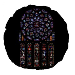 Chartres Cathedral Notre Dame De Paris Amiens Cath Stained Glass Large 18  Premium Round Cushions by Wegoenart