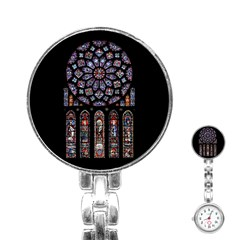 Chartres Cathedral Notre Dame De Paris Amiens Cath Stained Glass Stainless Steel Nurses Watch by Wegoenart