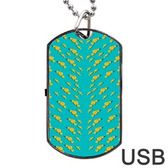 Sakura In Yellow And Colors From The Sea Dog Tag Usb Flash (one Side) by pepitasart