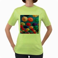 Rainbow Umbrella Women s Green T-shirt by Sparkle