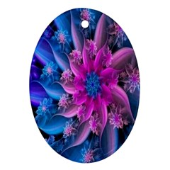 Fractal Flower Oval Ornament (two Sides) by Sparkle
