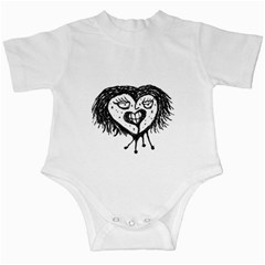 Infected Heart Black And White Isolated Pencil Drawing 3 Infant Creepers by dflcprintsclothing