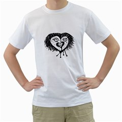 Infected Heart Black And White Isolated Pencil Drawing 3 Men s T-shirt (white) (two Sided) by dflcprintsclothing
