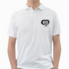 Infected Heart Black And White Isolated Pencil Drawing 3 Golf Shirt by dflcprintsclothing