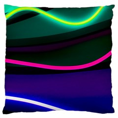 Neon Wonder Large Flano Cushion Case (two Sides) by essentialimage