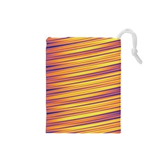 Orange Strips Drawstring Pouch (small)