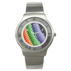 Grey Strips Stainless Steel Watch by Sparkle