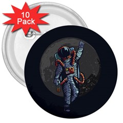 Illustration Drunk Astronaut 3  Buttons (10 Pack)