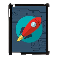 Rocket With Science Related Icons Image Apple Ipad 3/4 Case (black)