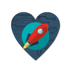 Rocket With Science Related Icons Image Heart Magnet by Vaneshart
