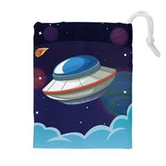 Ufo Alien Spaceship Galaxy Drawstring Pouch (xl)