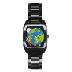 Spaceship Design Stainless Steel Barrel Watch by Vaneshart