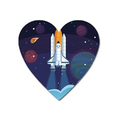 Spaceship Milkyway Galaxy Heart Magnet