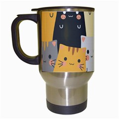 Seamless Pattern Cute Cat Cartoons Travel Mugs (white)