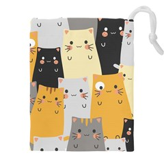 Seamless Pattern Cute Cat Cartoons Drawstring Pouch (3xl) by Vaneshart