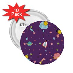 Space Travels Seamless Pattern Vector Cartoon 2 25  Buttons (10 Pack)