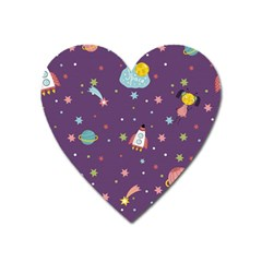 Space Travels Seamless Pattern Vector Cartoon Heart Magnet by Vaneshart