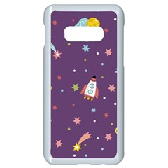 Space Travels Seamless Pattern Vector Cartoon Samsung Galaxy S10e Seamless Case (white) by Vaneshart