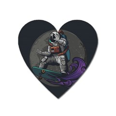 Illustration Astronaut Cosmonaut Paying Skateboard Sport Space With Astronaut Suit Heart Magnet by Vaneshart