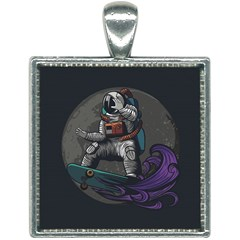 Illustration Astronaut Cosmonaut Paying Skateboard Sport Space With Astronaut Suit Square Necklace by Vaneshart