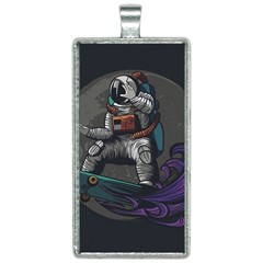 Illustration Astronaut Cosmonaut Paying Skateboard Sport Space With Astronaut Suit Rectangle Necklace by Vaneshart