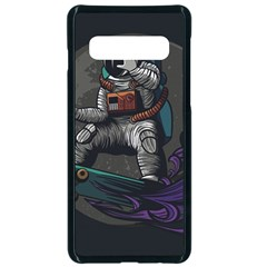 Illustration Astronaut Cosmonaut Paying Skateboard Sport Space With Astronaut Suit Samsung Galaxy S10 Seamless Case(black) by Vaneshart
