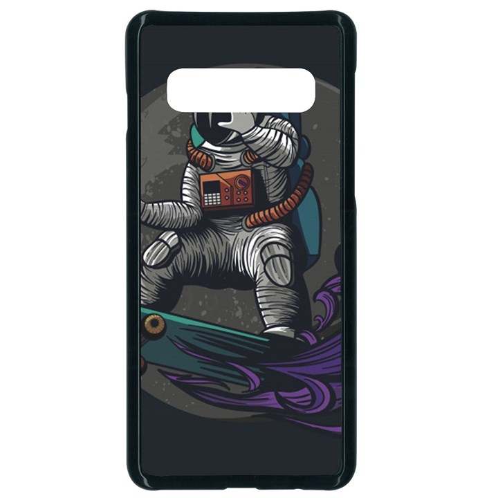 Illustration Astronaut Cosmonaut Paying Skateboard Sport Space With Astronaut Suit Samsung Galaxy S10 Seamless Case(Black)