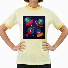Cartoon Funny Aliens With Ufo Duck Starry Sky Set Women s Fitted Ringer T-shirt by Vaneshart