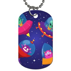 Cartoon Funny Aliens With Ufo Duck Starry Sky Set Dog Tag (one Side) by Vaneshart