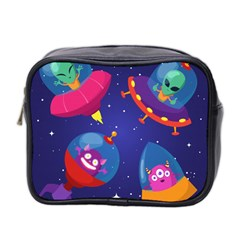 Cartoon Funny Aliens With Ufo Duck Starry Sky Set Mini Toiletries Bag (two Sides)