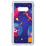 Cartoon Funny Aliens With Ufo Duck Starry Sky Set Samsung Galaxy S10e Seamless Case (White) Front