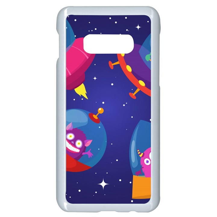 Cartoon Funny Aliens With Ufo Duck Starry Sky Set Samsung Galaxy S10e Seamless Case (White)