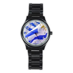 Uruguay Flags Waving Stainless Steel Round Watch by dflcprintsclothing