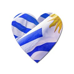 Uruguay Flags Waving Heart Magnet by dflcprintsclothing