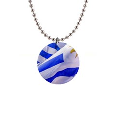Uruguay Flags Waving 1  Button Necklace by dflcprintsclothing