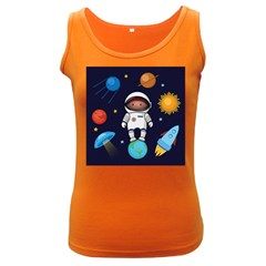 Boy Spaceman Space Rocket Ufo Planets Stars Women s Dark Tank Top by Vaneshart