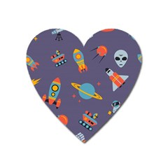 Space Seamless Pattern Heart Magnet by Vaneshart