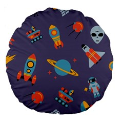 Space Seamless Pattern Large 18  Premium Round Cushions